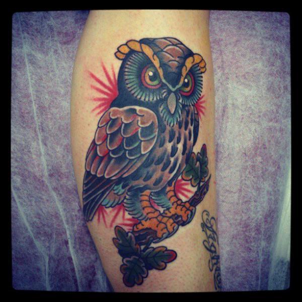 Arm Old School Owl Tattoo by Bonic Cadaver