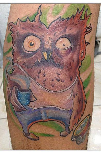 Fantasy Owl Character Tattoo by Bonic Cadaver