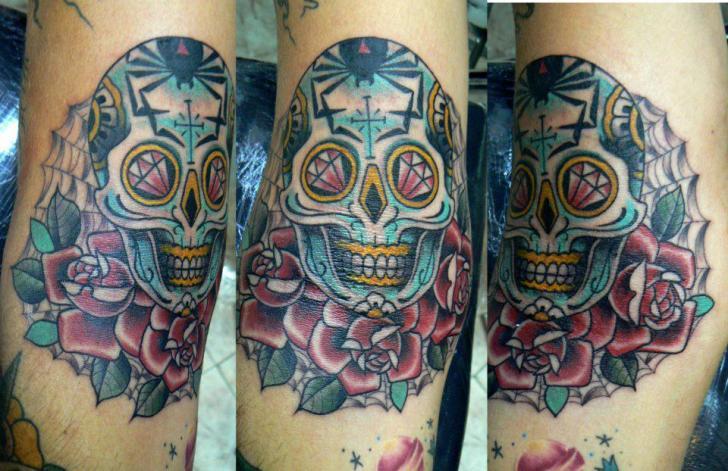 New School Flower Skull Tattoo by Bonic Cadaver