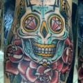 New School Flower Skull tattoo by Bonic Cadaver