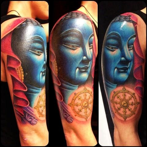 Shoulder Buddha Tattoo by Bonic Cadaver