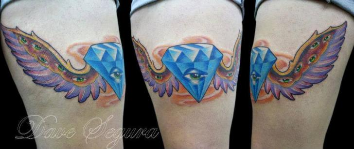 Fantasy Wings Thigh Diamond Tattoo by Bonic Cadaver