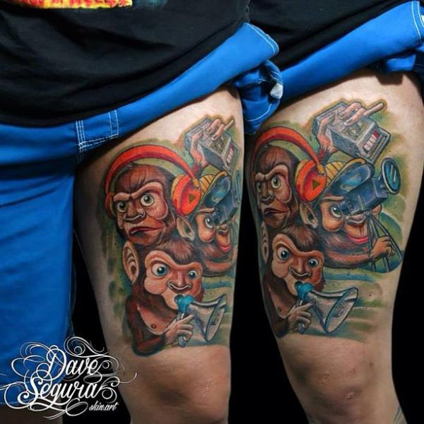 Fantasy Monkey Thigh Tattoo by Bonic Cadaver