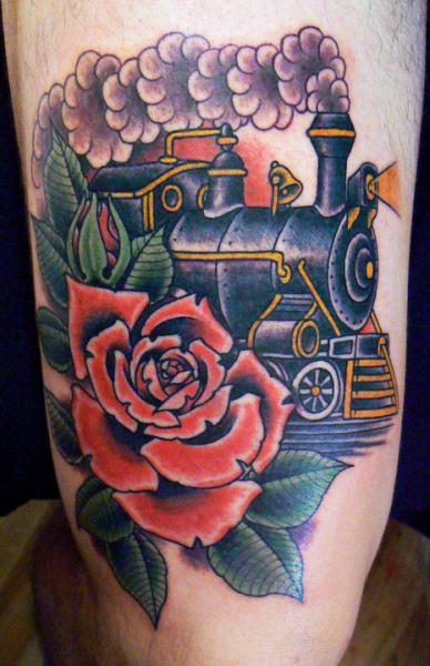 Old School Train Thigh Tattoo by Bonic Cadaver