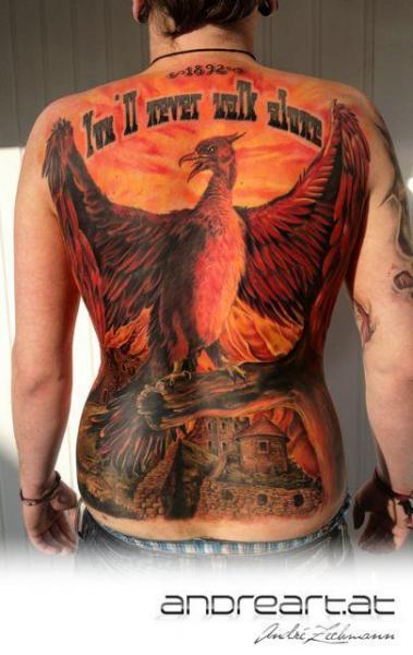 Back Phoenix Tattoo by Andreart Tattoo