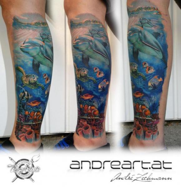 Realistic Calf Sea Dolphin Tattoo by Andreart Tattoo