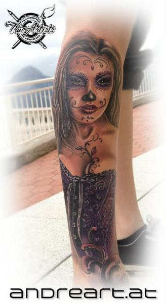 Leg Mexican Skull Tattoo by Andreart Tattoo