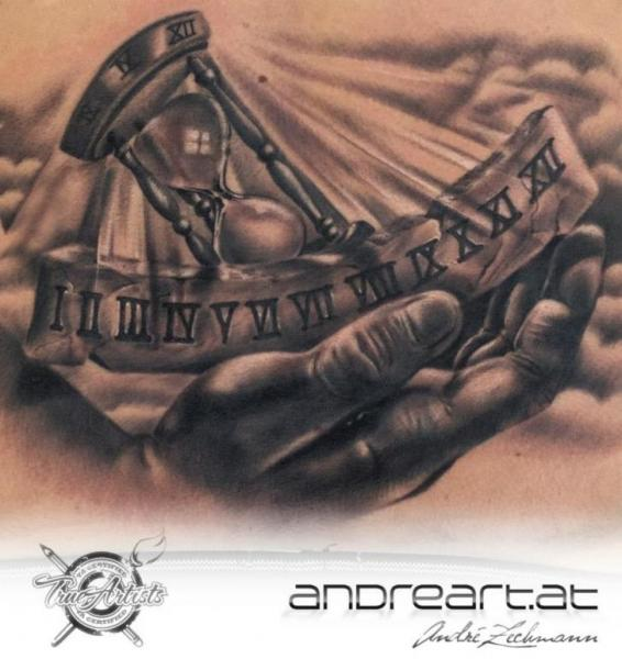 Realistic Hand Clepsydra Tattoo by Andreart Tattoo
