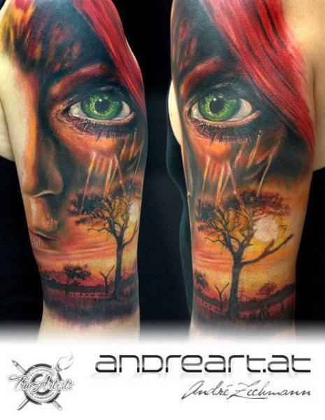 Shoulder Realistic Eye Landscape Tattoo by Andreart Tattoo