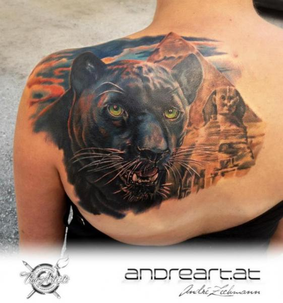 Shoulder Realistic Panther Egypt Tattoo by Andreart Tattoo