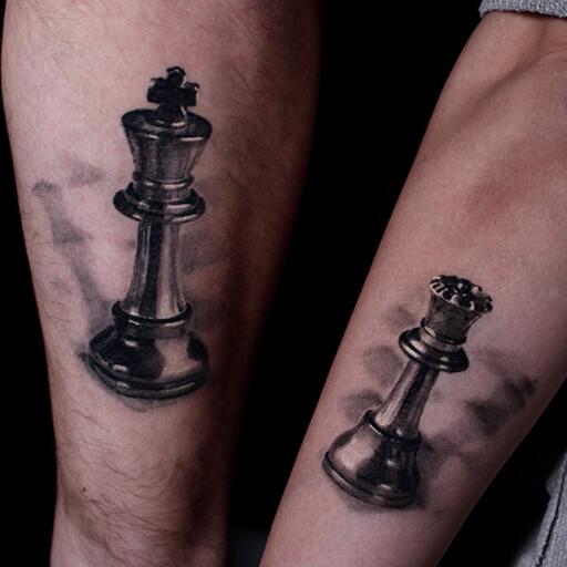 Arm Schach Tattoo von Art Line Tattoo