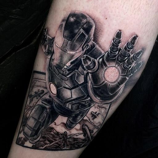 Arm Ironman Tattoo by Art Line Tattoo