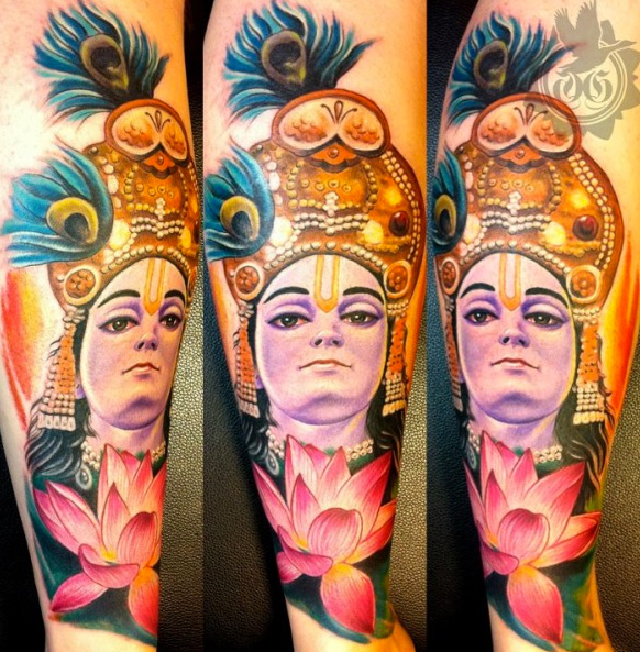 Arm Japanese Buddha Tattoo by Art Line Tattoo
