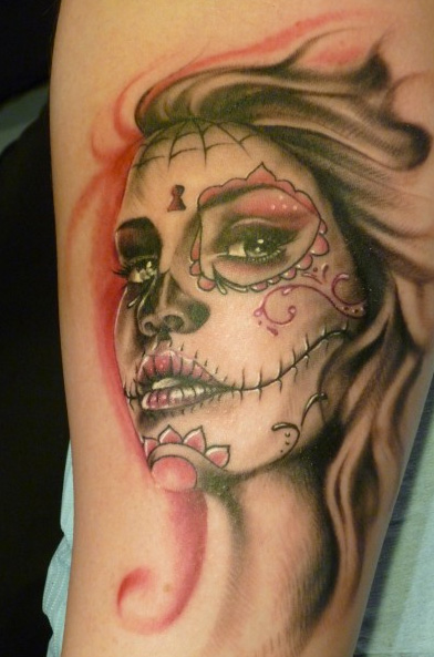 Arm Mexican Skull Women Tattoo by Art Line Tattoo