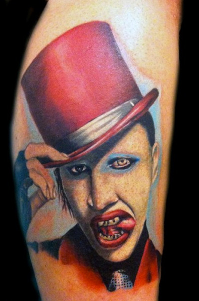 Arm Realistic Marilyn Manson Tattoo by Art Line Tattoo