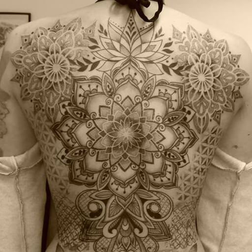 Back Dotwork Mandala Tattoo by Art Line Tattoo