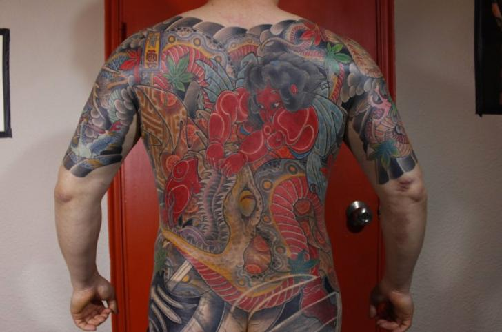 Japanese Back Tattoo by Art Line Tattoo