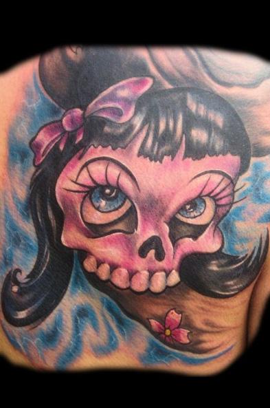 Mexican Skull Back Tattoo by Art Line Tattoo