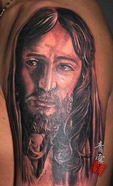Shoulder Jesus Tattoo By Art Line Tattoo