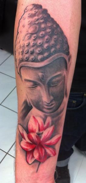 Arm Buddha Religious Tattoo by Chrischi77
