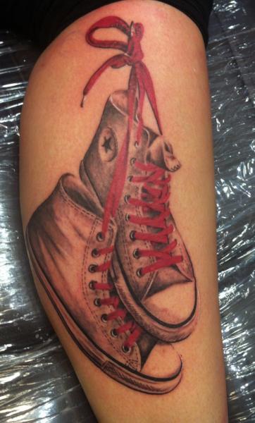 Realistic Leg Shoe Tattoo by Chrischi77