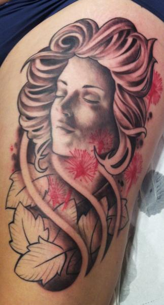 Leg Women Tattoo by Chrischi77