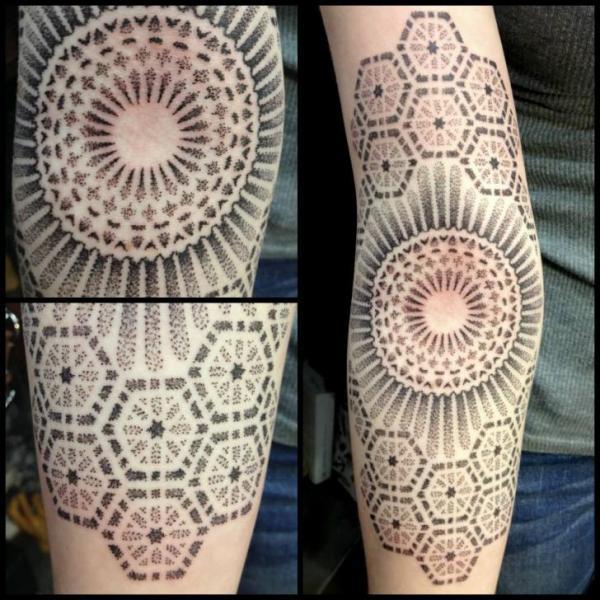 Arm Dotwork Geometric Tattoo by Tin Tin Tattoos