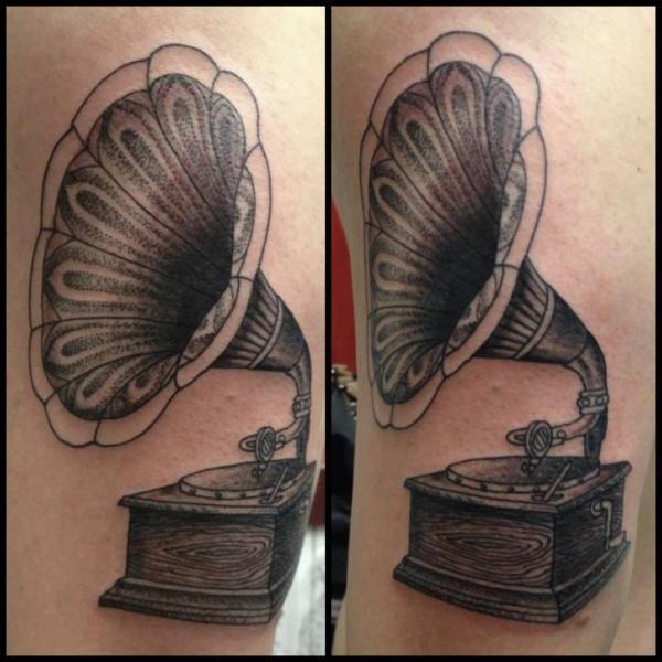 Arm Gramophone Tattoo by Tin Tin Tattoos