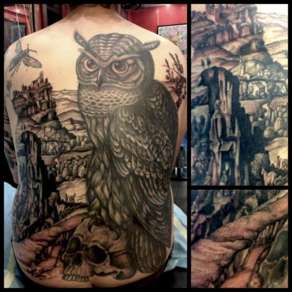 Back Owl Landscape Tattoo by Tin Tin Tattoos