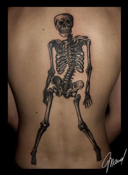 Back Skeleton Tattoo by Tin Tin Tattoos