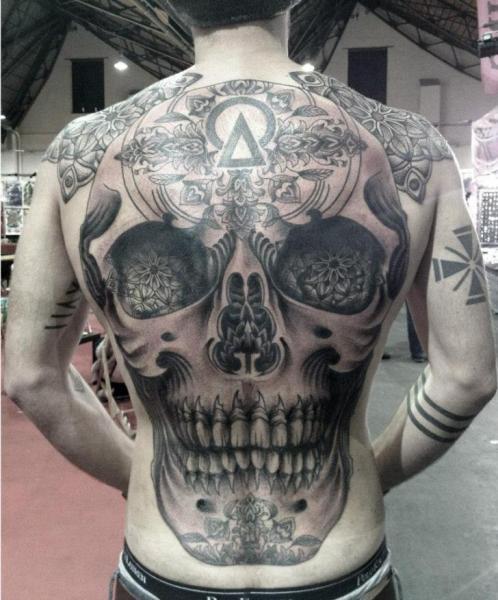 Skull Back Tattoo By Tin Tin Tattoos