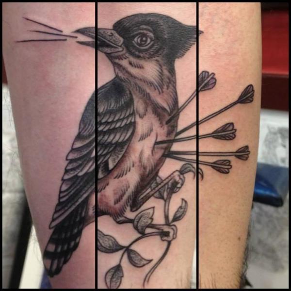 Calf Bird Tattoo by Tin Tin Tattoos