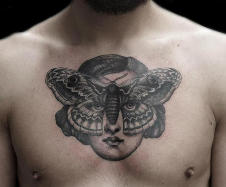 Chest Women Dotwork Moth Tattoo by Tin Tin Tattoos