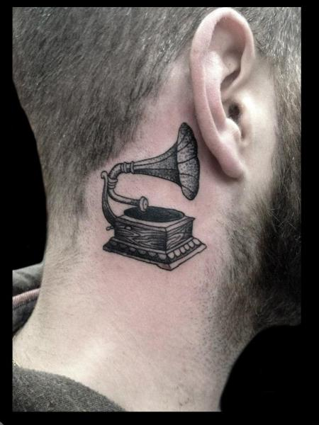 Neck Dotwork Gramophone Tattoo by Tin Tin Tattoos