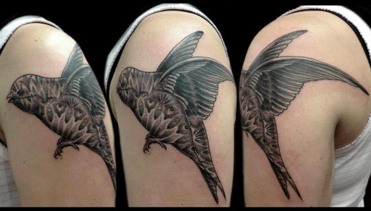 Shoulder Dotwork Bird Tattoo by Tin Tin Tattoos