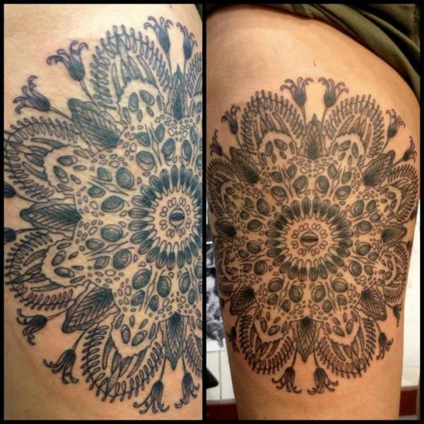 Dotwork Thigh Tattoo by Tin Tin Tattoos