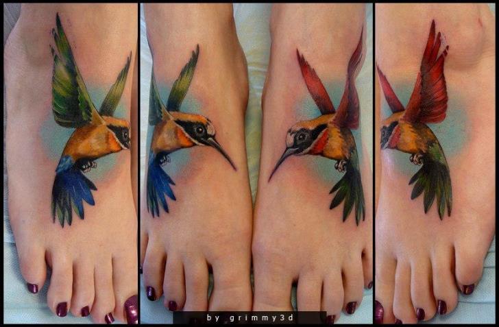 Realistische Fuß Vogel Tattoo von Grimmy 3D Tattoo