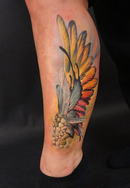 Leg Feather Tattoo by Grimmy 3D Tattoo