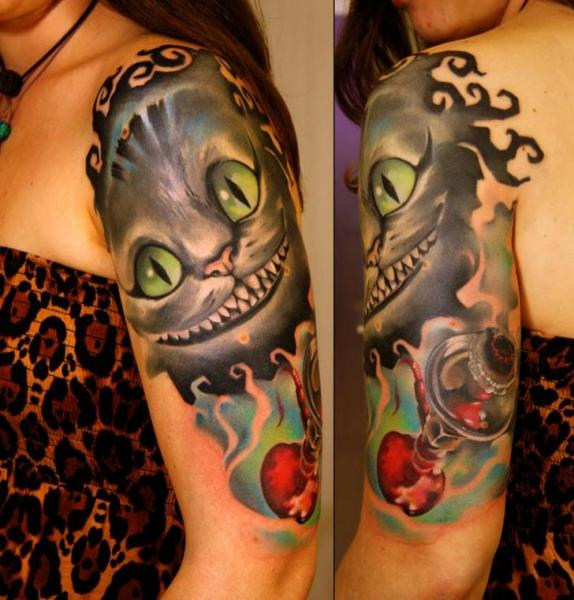 Tatuaje Hombro Fantasy Gato por Grimmy 3D Tattoo