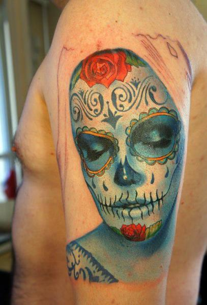 Shoulder Mexican Skull Tattoo by Grimmy 3D Tattoo