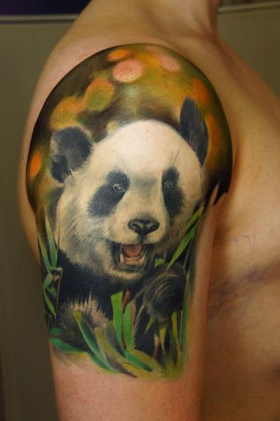 Shoulder Realistic Panda Tattoo by Grimmy 3D Tattoo