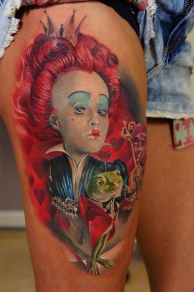 Fantasy Alice Wonderland Thigh Tattoo by Grimmy 3D Tattoo