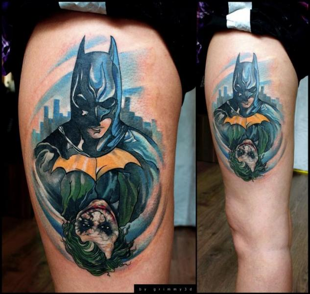 fantasie batman joker oberschenkel tattoo von grimmy 3d tattoo. Black Bedroom Furniture Sets. Home Design Ideas