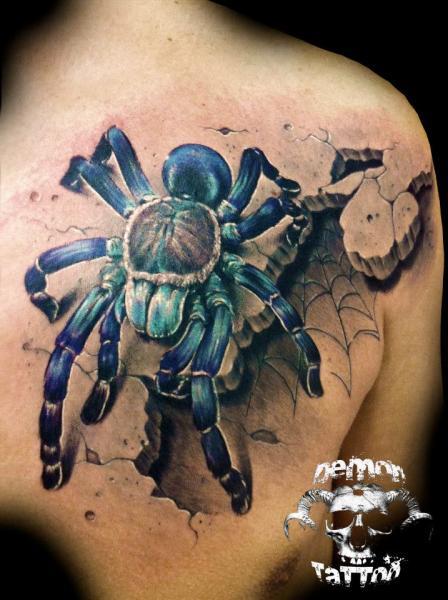 Realistic Spider 3d Tattoo By Tatuajes Demon