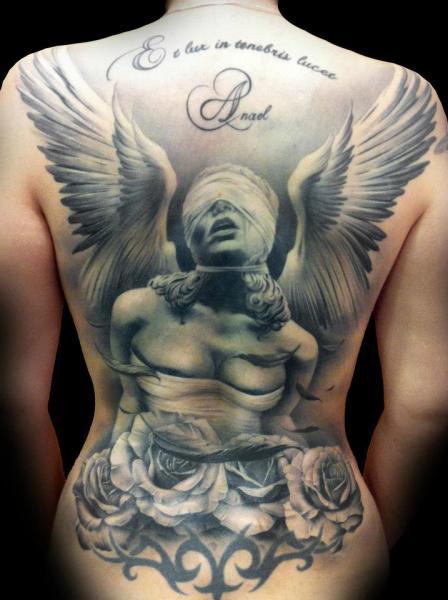 Back Angel Blind Tattoo by Tatuajes Demon