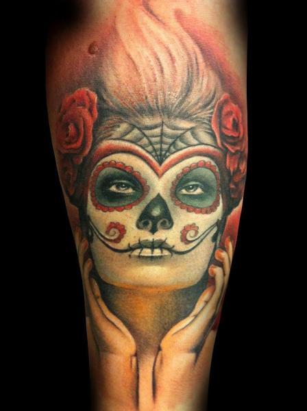 Calf Mexican Skull Tattoo by Tatuajes Demon