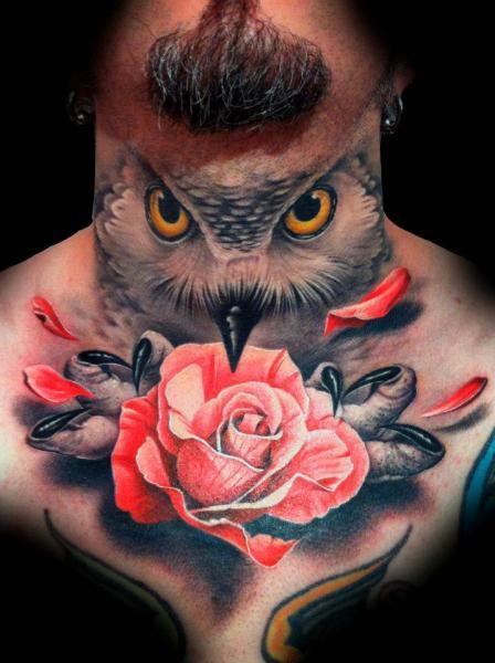 Realistic Flower Neck Owl Chin Tattoo by Tatuajes Demon
