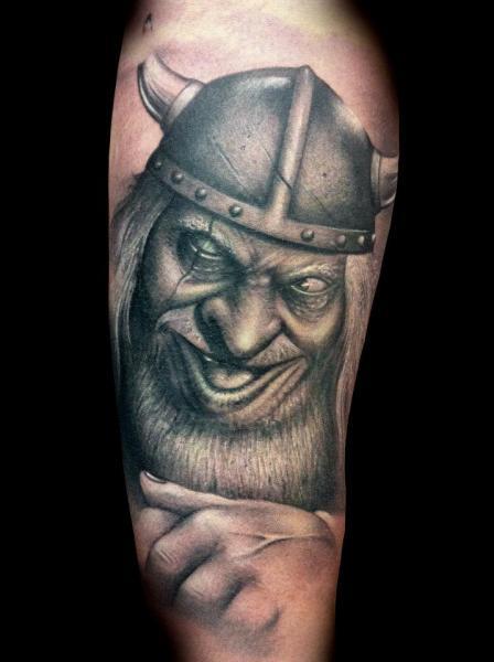 Shoulder Fantasy Viking Tattoo by Tatuajes Demon