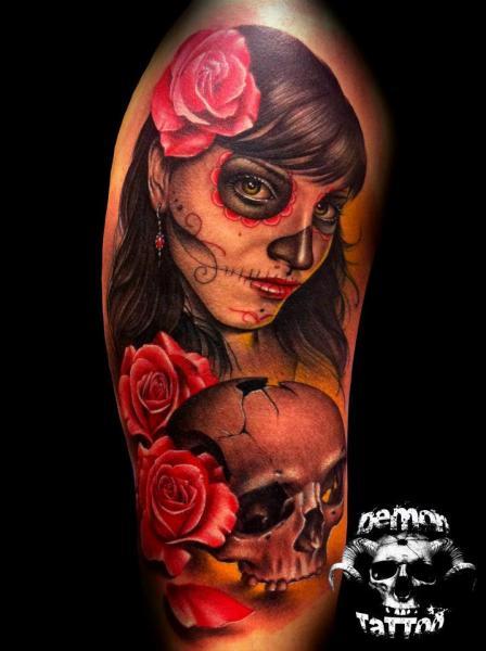 Shoulder Mexican Skull Tattoo by Tatuajes Demon