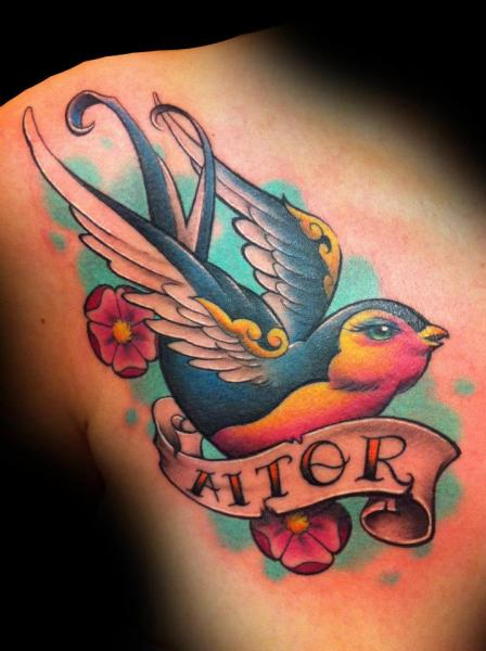 Schulter New School Spatz Tattoo von Tatuajes Demon
